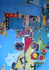 Street Walker - Mixed Media on Canvas  - Unframed.  72 x 49 1/2""