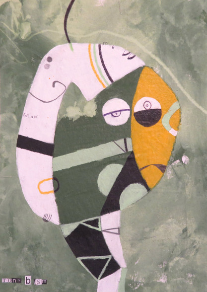 "Follow Me - Mixed Media on Canvas Panel, 12 x 16 1/2"""