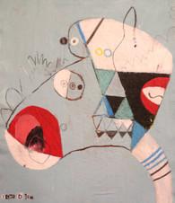 "Happy Child - Mixed Media on Canvas Panel, 12  x 15"""