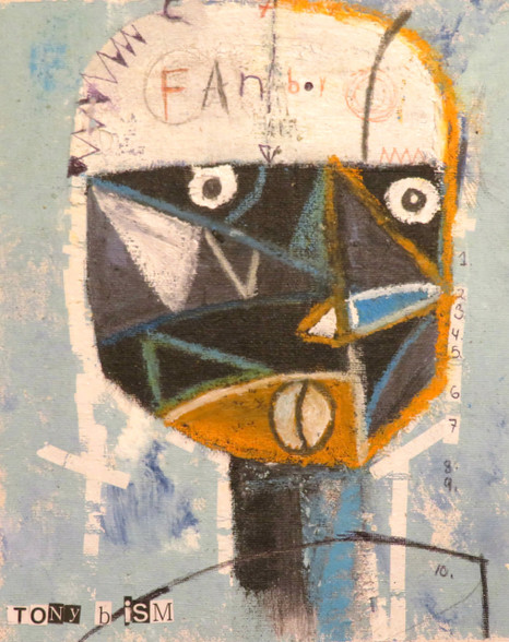 "Fan Boy - Mixed Media on Canvas Panel, 7 x 8"""