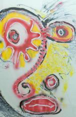 "Acrylic & Oil Stick on Matboard.  Framed.  37 x 271/2"""