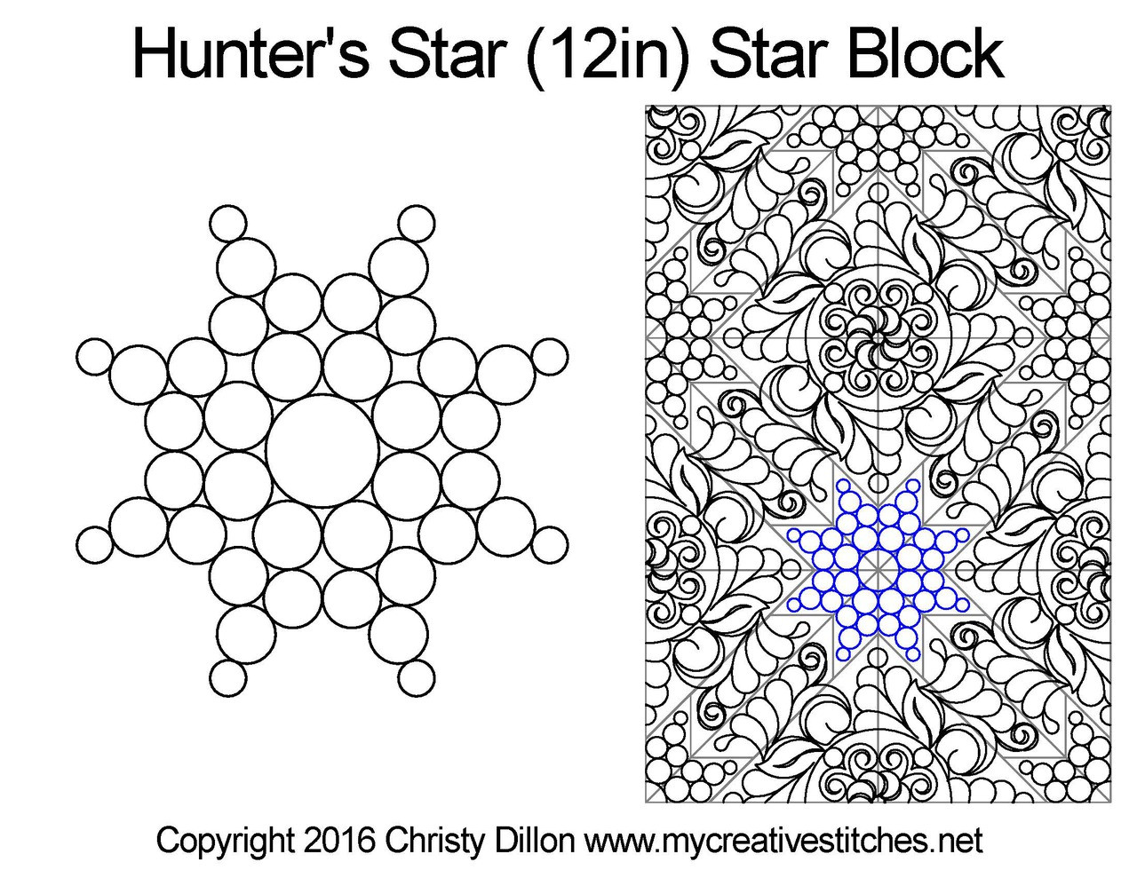 Computerized Quilting Pattern Hunter's Star