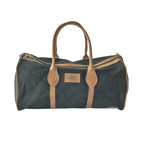 Travel - Weekender Duffle Bag |  Black Canvas - Tan Leather Trim | Medium/Small