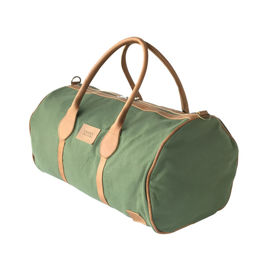Travel - Weekender Duffle Bag |  Olive Green Canvas - Tan Leather Trim | Medium/Small