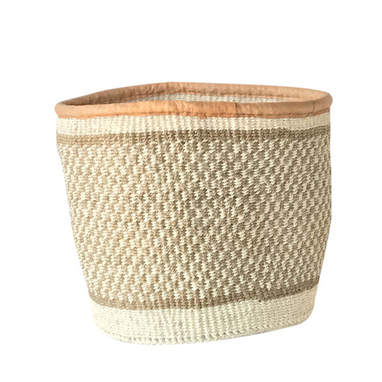 Kiondo Basket - Natural & White Squares | Small - 8""