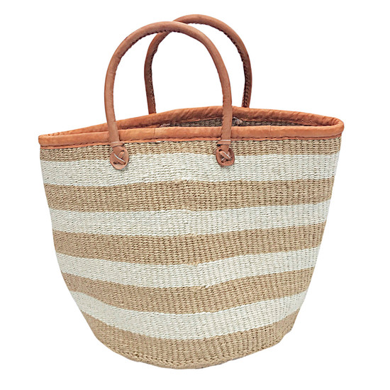 "Kiondo Basket - Natural With White Stripes | 13"" - Shopper, Storage, Decor"
