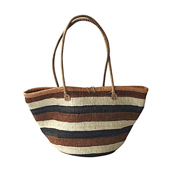 """Kiondo Basket Bag - Black, Rust & White Stripes   13"""" - Shopper, Storage, Decor"""