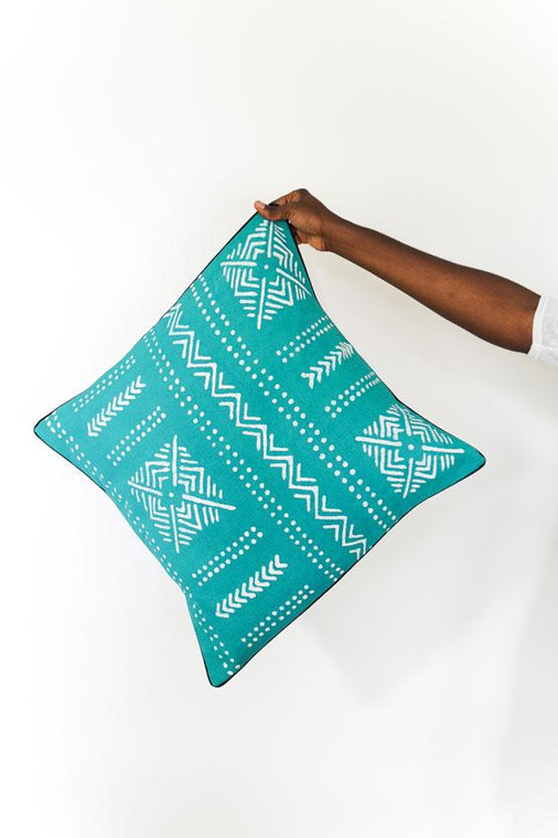 Throw/Sofa Pillows | Teal | Mudcloth Design