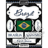 Discover Collection Brazil Sticker Sheet by Scrapbook Customs