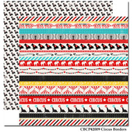 Circus Party Scrapbook Collection Circus Borders 12 x 12 Double-Sided Scrapbook Paper by Carta Bella