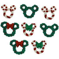 Disney Dress It Up Holiday Collection Mickey Mouse Wreaths & Canes Scrapbook Button Embellishments by Jesse James Buttons