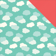 Sunny Days Ahead Collection Clouds Double-Sided 12 x 12 Scrapbook Paper by Echo Park