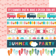 Summer Party Collection Border Strips 12 x 12 Double-Sided Scrapbook Paper by Echo Park Paper