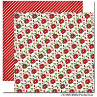 Have A Merry Christmas Collection Poinsettias Double-Sided 12 x 12 Scrapbook Paper by Carta Bella