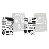 DIY Christmas Collection 4 x 6 Christmas Clear Sentiment Stickers by Simple Stories - Pkg. of 4