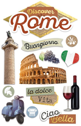 Discover Italy Collection Rome 3D Glitter 4.5 x 7 Scrapbook Embellishment by Paper House Productions
