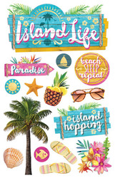 Paradise Found Collection Island Life 4.5 x 7 3D Glitter Scrapbook Embellishment by Paper House Productions