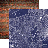 Let Freedom Ring Collection Boston Map 12 x 12 Double-Sided Scrapbook Paper by Paper House Productions