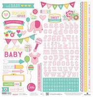 Hello Baby Collection Pink Girl 12 x 12 Scrapbook Sticker Sheet by Paper House Productions