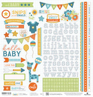 Hello Baby Collection Blue Boy 12 x 12 Scrapbook Sticker Sheet by Paper House Productions