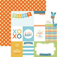 Hello Baby Collection Blue Boy Tags 12 x 12 Double-Sided Scrapbook Paper by Paper House Productions