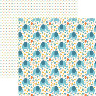 Hello Baby Collection Blue Boy Elephants 12 x 12 Double-Sided Scrapbook Paper by Paper House Productions