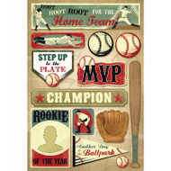 Batter Up Collection Root For The Home Team 6 x 9 Cardstock Scrapbook Stickers by Karen Foster Design