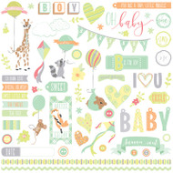 About A Little Boy Collection Elements 12 x 12 Scrapbook Sticker Sheet by Photoplay Paper