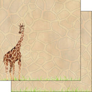 African Safari Collection Giraffe Safari 12 x 12 Double-Sided Scrapbook Paper by Scrapbook Customs