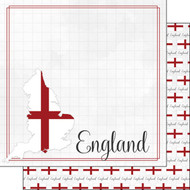 Travel Adventure Collection England Border 12 x 12 Double-Sided Scrapbook Paper by Scrapbook Customs