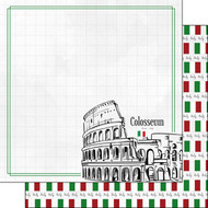 Travel Adventure Collection Colosseum 12 x 12 Double-Sided Scrapbook Paper by Scrapbook Customs