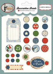 Christmas Wonderland Collection 5 x 5 Decorative Scrapbook Brads & Tags by Carta Bella
