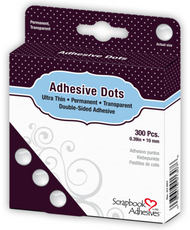 Permanent, Transparent, Ultra Thin 10mm Medium Adhesive Dots by Scrapbook Adhesives - Pkg. of 300