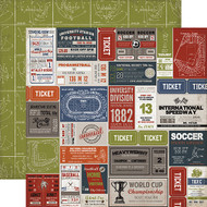 Work Hard, Play Hard Collection Sport Labels 12 x 12 Double-Sided Scrapbook Paper by Carta Bella
