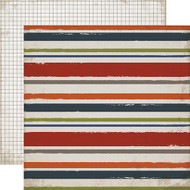 Work Hard, Play Hard Collection Sport Stripe 12 x 12 Double-Sided Scrapbook Paper by Carta Bella
