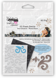 3D Self-Adhesive White Foam Swirls by Scrapbook Adhesives - Pkg. of 20
