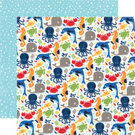 Under The Sea Collection Ocean Friends 12 x 12 Double-Sided Scrapbook Paper by Echo Park Paper