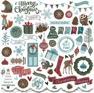Winter Meadow Collection 12 x 12 Ephemera Scrapbook Sticker Sheet by Photo Play