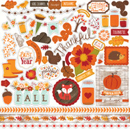 The Story of Fall Collection 12 x 12 Scrapbook Sticker Sheet by Echo Park Paper