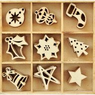 Festive Collection Lucky Dip Wooden Flourish Embellishments by Kaisercraft - 45 Pieces
