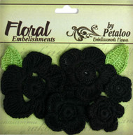 Floral Embellishments Collection Black Crochet Flowers by Petaloo