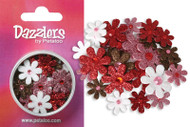 Red White Pink & Chocolate Glitter Dazzlers Florettes by Petaloo - Pkg. of 32