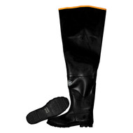 Cordova Black Hip Boots w/Adjustable Straps, Brick Red Ribbed Soles, Cotton Lined, 32-Inch Length (Pair)