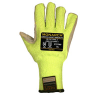 Cordova Monarch LEATHER™ Hi-Vis Green TAEKI5® Gloves, 10-Gauge, Leather Palm, Cut Level 5 (Pair)