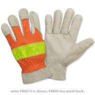 Cordova Grain Pigskin Leather Gloves, Hi-Vis Orange, Lime Reflective Tape, Keystone Thumb (Dozen)