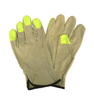 Pigskin Leather Drivers Gloves, Unlined, Hi-Vis Lime Fingertips, Keystone Thumb