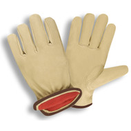 Cordova Premium Pigskin Leather Drivers Gloves, Red Fleece Lined, Elastic Back, Keystone Thumb (Dozen)