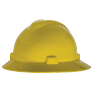 MSA V-Gard Full Brim Hard Hat, Fast-Trac Ratchet Suspension, Yellow