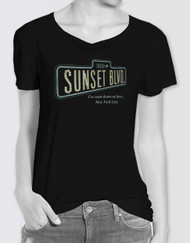 Sunset Boulevard Ladies Glitter Logo T-Shirt