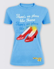 "The Wizard of Oz Ladies Blue Glitter Tee ""There's No Place Like Home"""